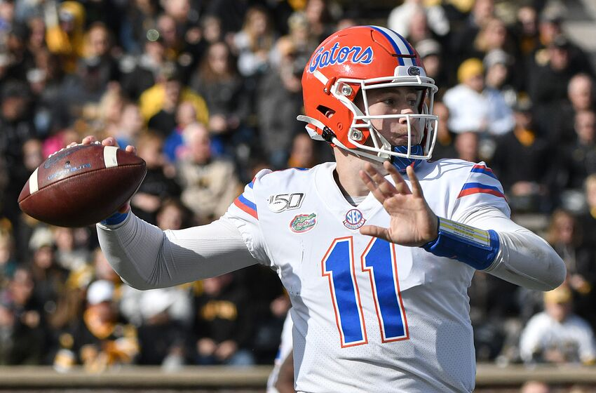 COLUMBIA, MISSOURI - NOVEMBER 16: Quarterback Kyle Trask #11 of the Florida Gators passes against the Missouri Tigers in the second quarter at Faurot Field/Memorial Stadium on November 16, 2019 in Columbia, Missouri. (Photo by Ed Zurga/Getty Images)
