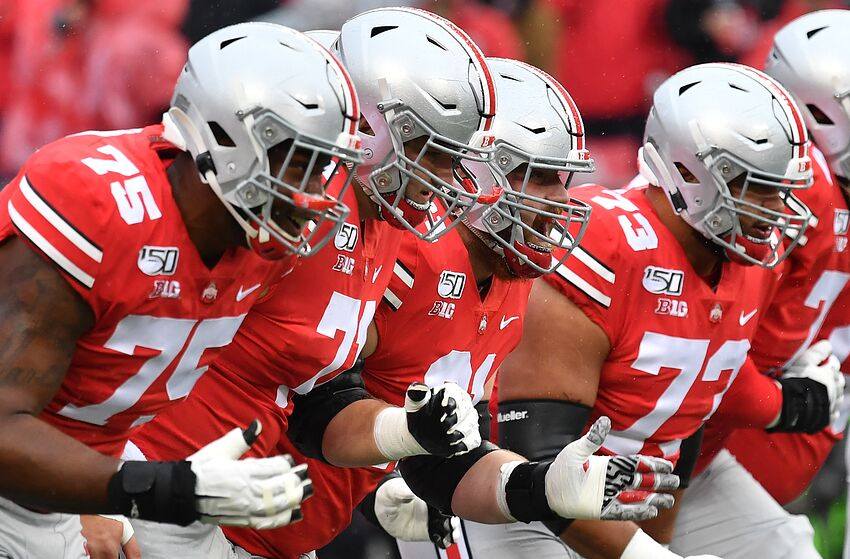 COLUMBUS, OH - OCTOBER 26: Thayer Munford #75, Josh Myers #71, Gavin Cupp #61 and Jonah Jackson #73 of the Ohio State Buckeyes (Photo by Jamie Sabau/Getty Images)