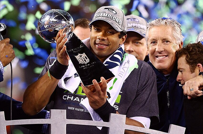 Feb 2 2014 East Rutherford NJ USA Seattle Seahawks Quarterback Russell