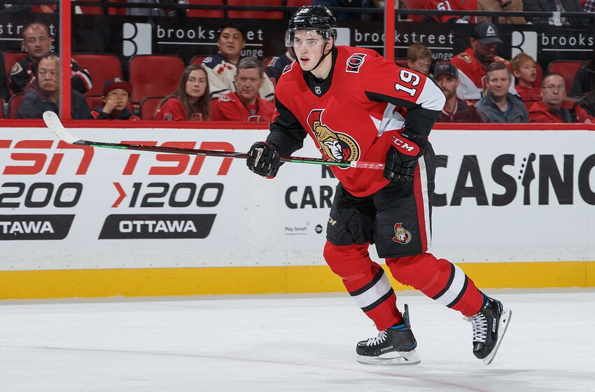 OTTAWA, ON - OCTOBER 5: Drake Batherson #19 of the Ottawa Senators skates against the New York Rangers at Canadian Tire Centre on October 5, 2019 in Ottawa, Ontario, Canada. (Photo by Andre Ringuette/NHLI via Getty Images)
