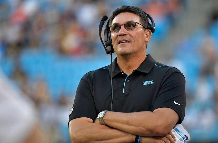 CHARLOTTE, NORTH CAROLINA - AUGUST 29: Head coach Ron Rivera of the Carolina Panthers watches his team play against the Pittsburgh Steelers during the first half of their preseason game at Bank of America Stadium on August 29, 2019 in Charlotte, North Carolina. (Photo by Grant Halverson/Getty Images)