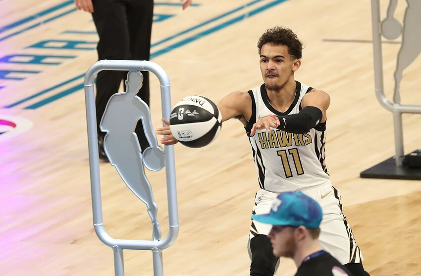 CHARLOTTE, NC - FEBRUARY 16: Trae Young #11 of the Atlanta Hawks participates in the 2019 Taco Bell Skills Challenge as part of State Farm All-Star Saturday Night on February 16, 2019 at the Spectrum Center in Charlotte, North Carolina. NOTE TO USER: User expressly acknowledges and agrees that, by downloading and/or using this photograph, user is consenting to the terms and conditions of the Getty Images License Agreement. Mandatory Copyright Notice: Copyright 2019 NBAE (Photo by Joe Murphy/NBAE via Getty Images)