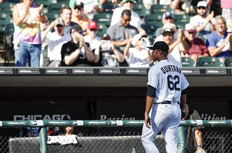 Sep 7, 2016; Chicago, IL, USA; Chicago White Sox starting pitcher Jose Quintana (62) leaves the game against the Detroit Tigers during the seventh inning at U.S. Cellular Field. Mandatory Credit: Kamil Krzaczynski-USA TODAY Sports