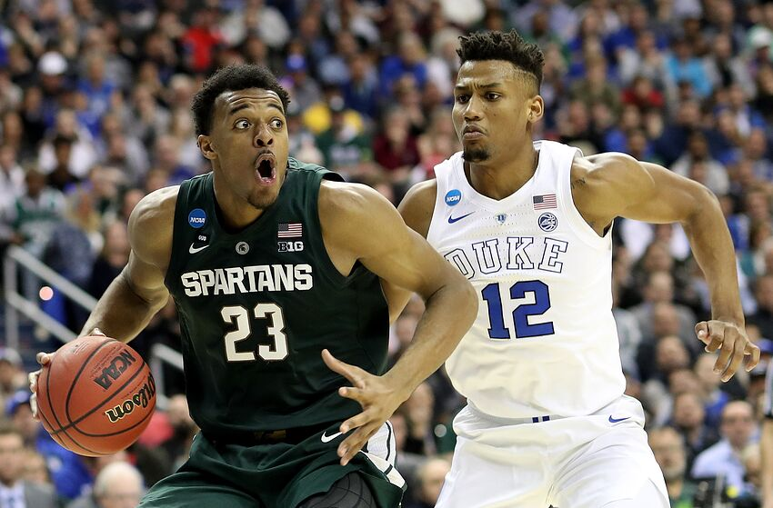 WASHINGTON, DC - MARCH 31: Xavier Tillman #23 of the Michigan State Spartans is defended by Javin DeLaurier #12 of the Duke Blue Devils during the second half in the East Regional game of the 2019 NCAA Men's Basketball Tournament at Capital One Arena on March 31, 2019 in Washington, DC. (Photo by Rob Carr/Getty Images)