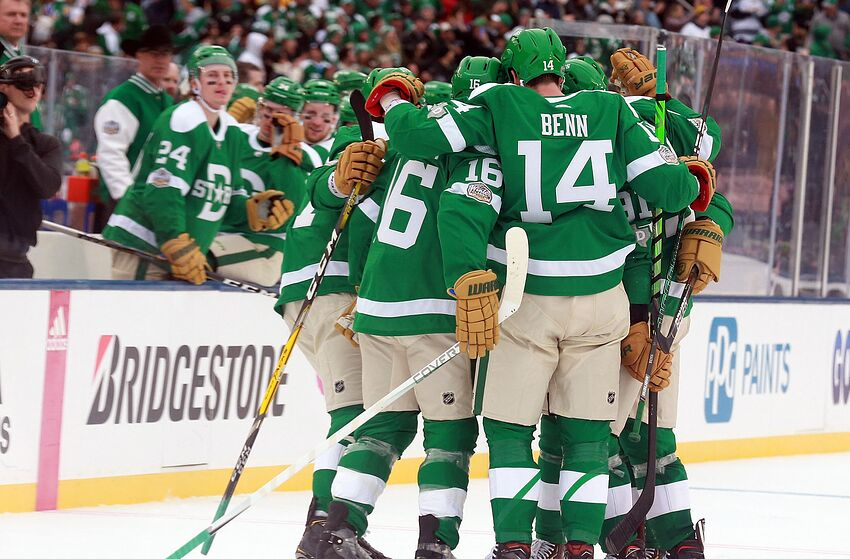 DALLAS, TEXAS - JANUARY 01: The Dallas Stars celebrate the tie breaking goal by Alexander Radulov #47 in the third period against the Nashville Predators in the NHL Winter Classic at the Cotton Bowl on January 01, 2020 in Dallas, Texas. (Photo by Richard Rodriguez/Getty Images)
