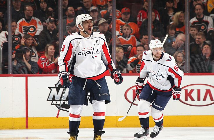 ac2bd3b1 PHILADELPHIA, PENNSYLVANIA - MARCH 06: Alex Ovechkin #8 of the Washington  Capitals celebrates