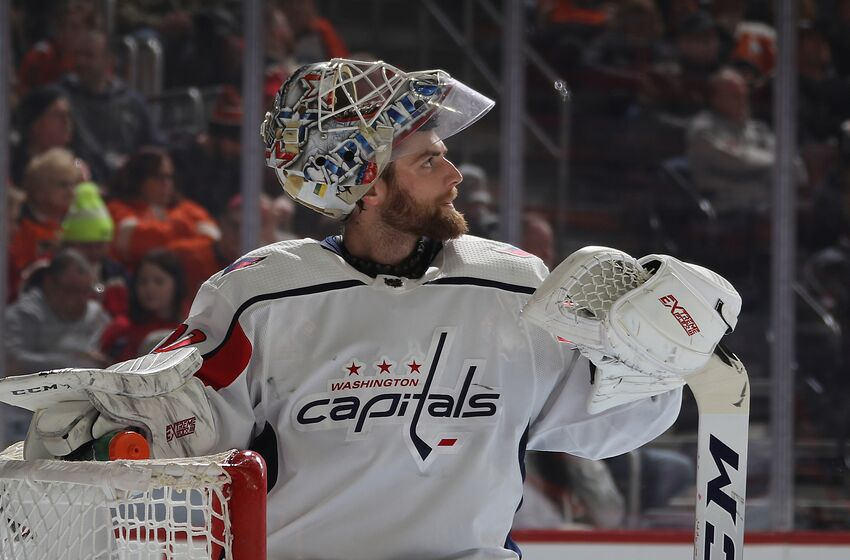 PHILADELPHIA, PENNSYLVANIA - MARCH 06: Braden Holtby #70 of the Washington Capitals waits for play to begin during the second period against the Philadelphia Flyers at the Wells Fargo Center on March 06, 2019 in Philadelphia, Pennsylvania. (Photo by Bruce Bennett/Getty Images)
