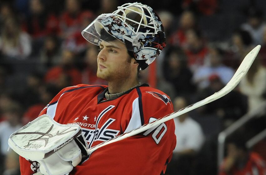 WASHINGTON, D.C.-March 9 : Washington Capitals goalie Braden Holtby (70) waits for 2nd period action te begin against Edmonton on March 9, 2011 in Washington, D.C. (Photo by Jonathan Newton/The Washington Post via Getty Images)