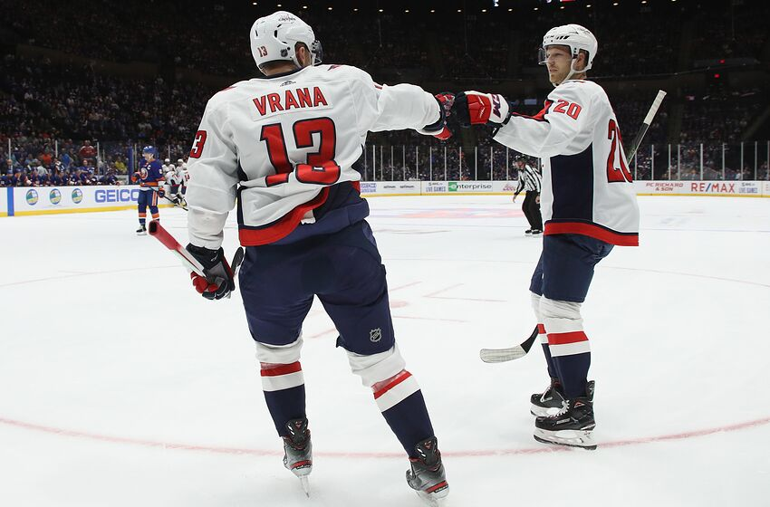 UNIONDALE, NEW YORK - OCTOBER 04: Jakub Vrana #13 of the Washington Capitals scores at 10:25 of the first period against the New York Islanders at NYCB Live's Nassau Coliseum on October 04, 2019 in Uniondale, New York. (Photo by Bruce Bennett/Getty Images)