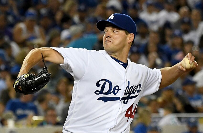 Sep 3, 2016; Los Angeles, CA, USA; Los Angeles Dodgers starting pitcher Rich Hill (44) in the sixth inning of the game against the San Diego Padres at Dodger Stadium. Mandatory Credit: Jayne Kamin-Oncea-USA TODAY Sports