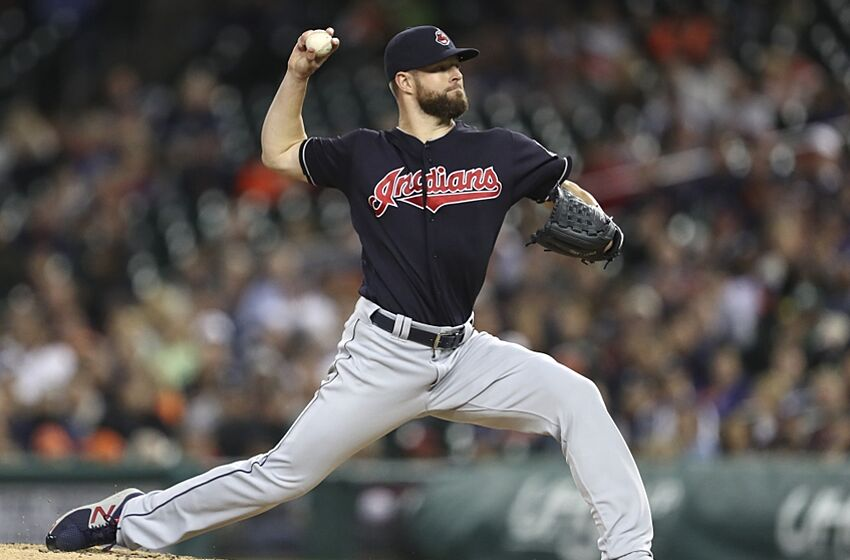 Sep 26, 2016; Detroit, MI, USA; Cleveland Indians starting pitcher Corey Kluber (28) pitches the ball during the second inning against the Detroit Tigers at Comerica Park. Mandatory Credit: Raj Mehta-USA TODAY Sports