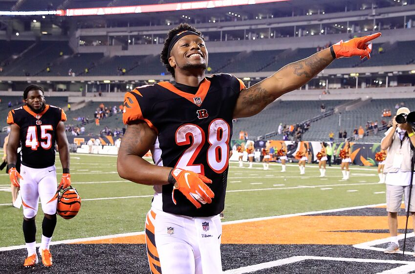 CINCINNATI, OH - SEPTEMBER 13: Joe Mixon #28 of the Cincinnati Bengals celebrates after the 34-23 win over the Baltimore Ravens at Paul Brown Stadium on September 13, 2018 in Cincinnati, Ohio. (Photo by Andy Lyons/Getty Images)