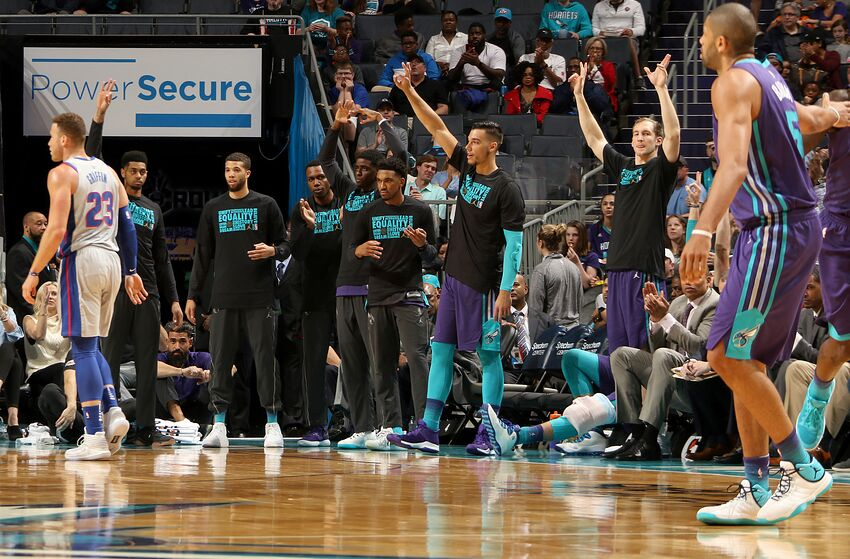 7e6ba790a85 CHARLOTTE, NC - FEBRUARY 25: The Charlotte Hornets bench reacts to a play  during