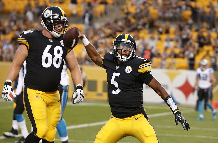 3bceb4de42f PITTSBURGH, PA - AUGUST 30: Joshua Dobbs #5 of the Pittsburgh Steelers  celebrates