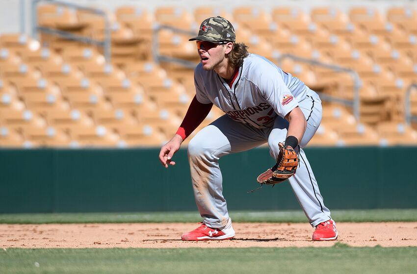 GLENDALE, AZ - OCTOBER 06: Alec Bohm #37 of the Scottsdale Scorpions looks on during the game against the Glendale Desert Dogs at Camelback Ranch on Sunday, October 6, 2019 in Glendale, Arizona. (Photo by Jennifer Stewart/MLB Photos via Getty Images)