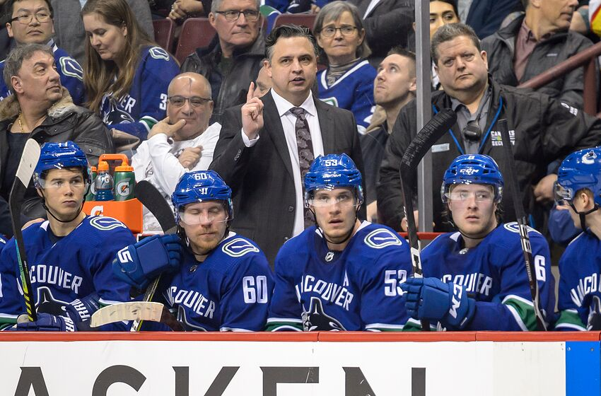 VANCOUVER, BC - MARCH 13: Vancouver Canucks Head Coach Travis Green during their NHL game against the New York Rangers at Rogers Arena on March 13, 2019 in Vancouver, British Columbia, Canada. Vancouver won 4-1. (Photo by Derek Cain/Icon Sportswire via Getty Images)
