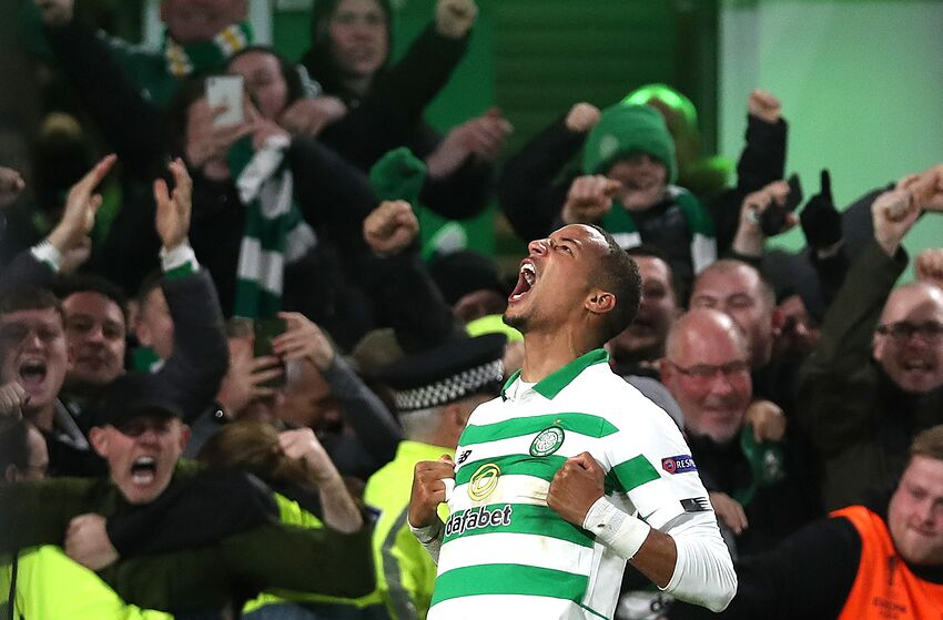 GLASGOW, SCOTLAND - OCTOBER 24: Christopher Jullien of Celtic celebrates after scoring his team's second goal during the UEFA Europa League group E match between Celtic FC and Lazio Roma at Celtic Park on October 24, 2019 in Glasgow, United Kingdom. (Photo by Ian MacNicol/Getty Images)
