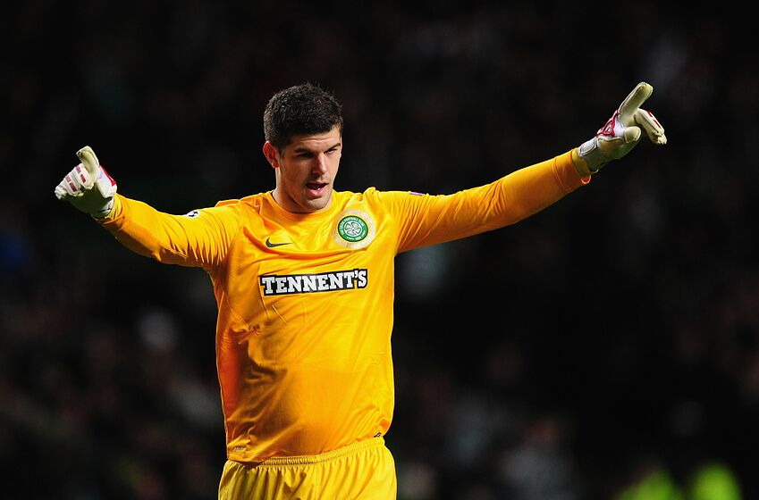 GLASGOW, SCOTLAND - NOVEMBER 07: Celtic goalkeeper Fraser Forster celebrates the first goal during the UEFA Champions League Group G match between Celtic and Barcelona at Celtic Park on November 7, 2012 in Glasgow, Scotland. (Photo by Stu Forster/Getty Images)