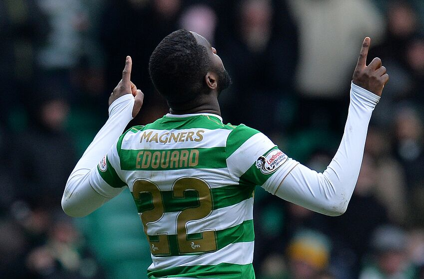 GLASGOW, SCOTLAND - MARCH 03: Odsonne Edouard of Celtic celebrates scoring a goal late in the game making it 3-0 to Celtic during the Scottish Cup Quarter Final match between Celtic and Greenock Morton at Celtic Park on March 3, 2018 in Glasgow, Scotland. (Photo by Mark Runnacles/Getty Images)
