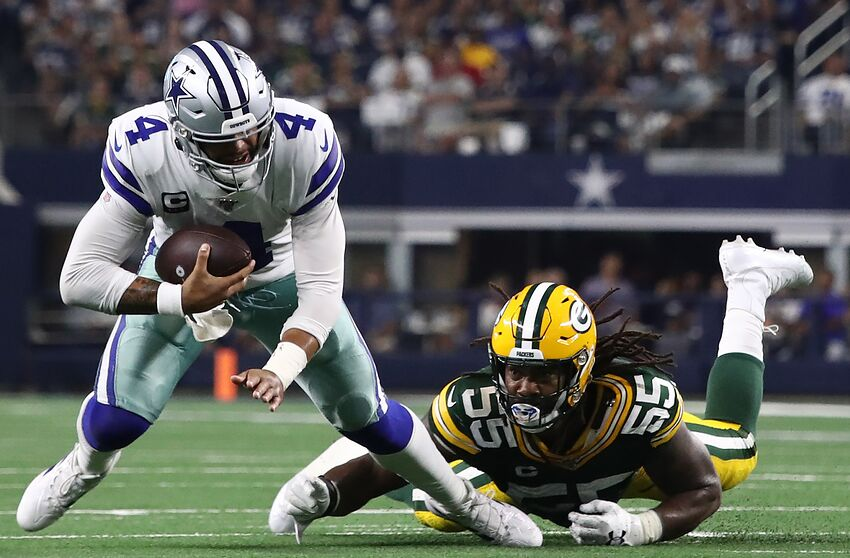 ARLINGTON, TEXAS - OCTOBER 06: Dak Prescott #4 of the Dallas Cowboys is tackled by Za'Darius Smith #55 of the Green Bay Packers at AT&T Stadium on October 06, 2019 in Arlington, Texas. (Photo by Ronald Martinez/Getty Images)