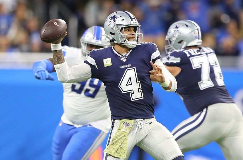 DETROIT, MI - NOVEMBER 17: Dak Prescott #4 of the Dallas Cowboys drops back to pass during the second quarter of the game against the Detroit Lions at Ford Field on November 17, 2019 in Detroit, Michigan. (Photo by Rey Del Rio/Getty Images)