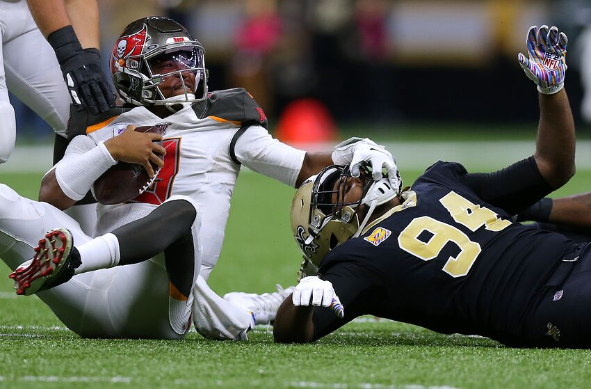 NEW ORLEANS, LOUISIANA - OCTOBER 06: Jameis Winston #3 of the Tampa Bay Buccaneers reacts after being sacked by Cameron Jordan #94 of the New Orleans Saints during the second half of a game at the Mercedes Benz Superdome on October 06, 2019 in New Orleans, Louisiana. (Photo by Jonathan Bachman/Getty Images)