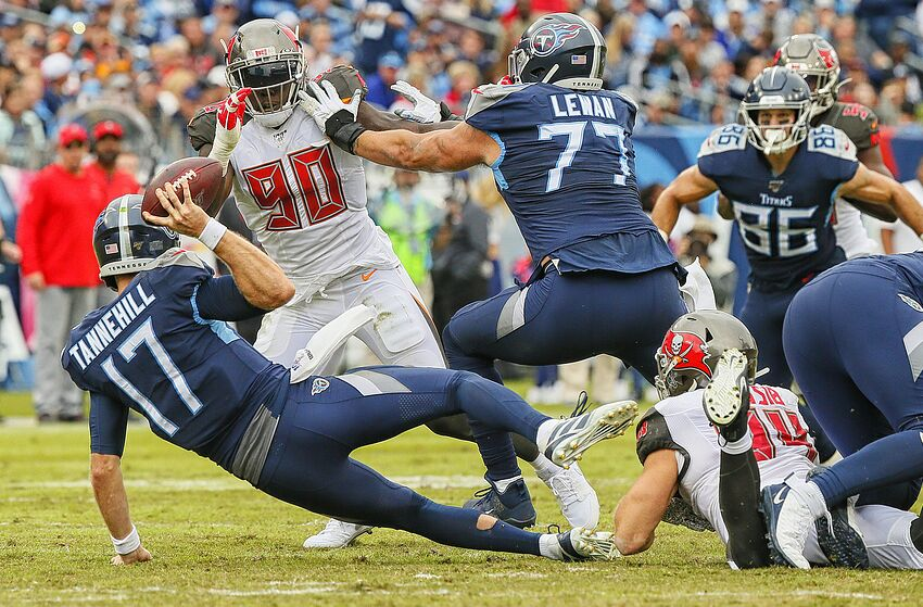 NASHVILLE, TENNESSEE - OCTOBER 27: Carl Nassib #94 of the Tampa Bay Buccaneers sacks quarterback Ryan Tannehill #17 of the Tennessee Titans during the second half at Nissan Stadium on October 27, 2019 in Nashville, Tennessee. (Photo by Frederick Breedon/Getty Images)