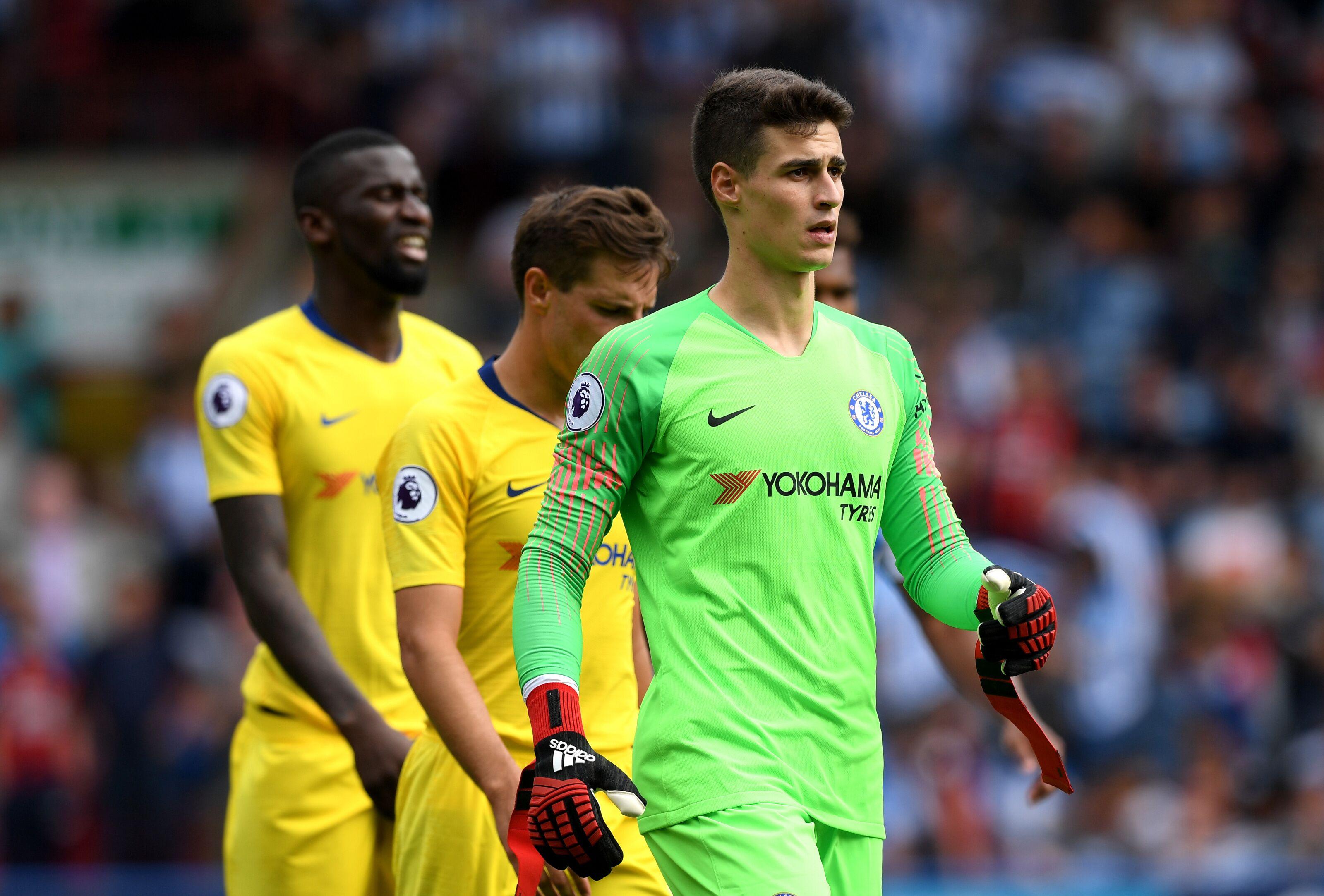 Huddersfield England August  Kepa Arrizabalaga Of Chelsea Looks On During The Premier