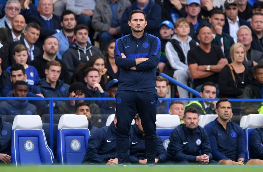LONDON, ENGLAND - SEPTEMBER 22: Frank Lampard, Manager of Chelsea looks on during the Premier League match between Chelsea FC and Liverpool FC at Stamford Bridge on September 22, 2019 in London, United Kingdom. (Photo by Laurence Griffiths/Getty Images)