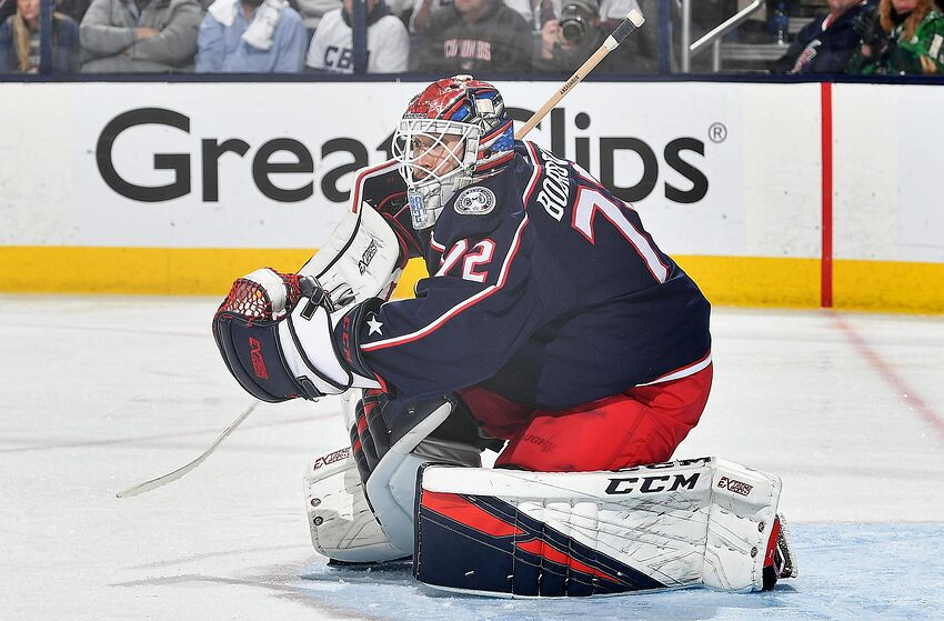 COLUMBUS, OH - MAY 6: Goaltender Sergei Bobrovsky #72 of the Columbus Blue Jackets defends the net against the Boston Bruins in Game Six of the Eastern Conference Second Round during the 2019 NHL Stanley Cup Playoffs on May 6, 2019 at Nationwide Arena in Columbus, Ohio. (Photo by Jamie Sabau/NHLI via Getty Images)
