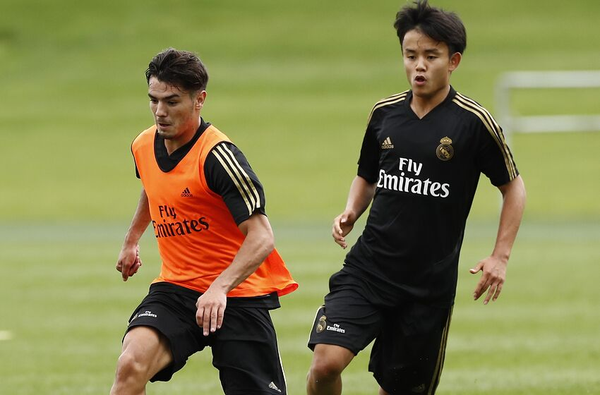 MONTREAL, QC - JULY 12: Brahim Diaz and Takefusa Kubo of Real Madrid players performs continuous race exercises in their new preseason training session on July 12, 2019 in Montreal, Canada. (Photo by Helios de la Rubia/Real Madrid via Getty Images)