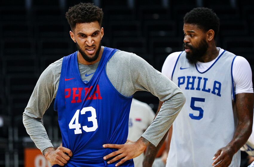 SHENZHEN, CHINA - OCTOBER 07: #43 Jonah Bolden(L) and #5 Amir Johnson of the Philadelphia 76ers during the practice as part of the 2018 NBA China Games between the Dallas Mavericks and the Philadelphia 76ers at Universidade Center on October 7, 2018 in Shenzhen, China. (Photo by Zhong Zhi/Getty Images)