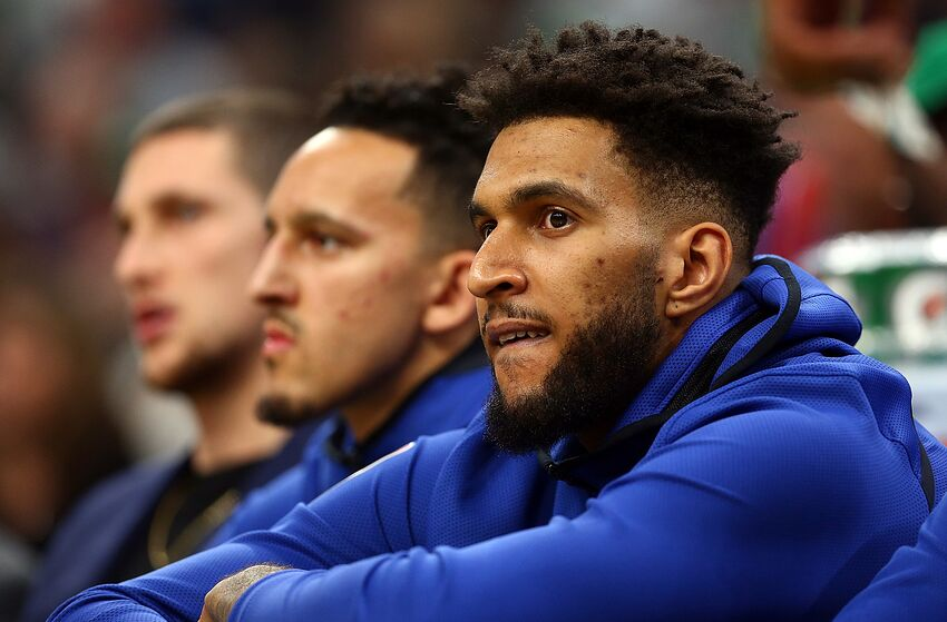 BOSTON, MA - OCTOBER 14: Jonah Bolden #43 of the Philadelphia 76ers looks on from the bench during a game against the Boston Celtics at TD Garden on October 16, 2018 in Boston, Massachusetts. NOTE TO USER: User expressly acknowledges and agrees that, by downloading and or using this photograph, User is consenting to the terms and conditions of the Getty Images License Agreement. (Photo by Adam Glanzman/Getty Images)