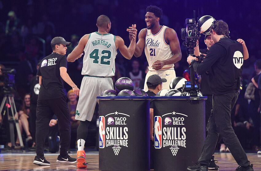 Al Horford, Joel Embiid   Philadelphia 76ers (Photo by Kevork Djansezian/Getty Images)