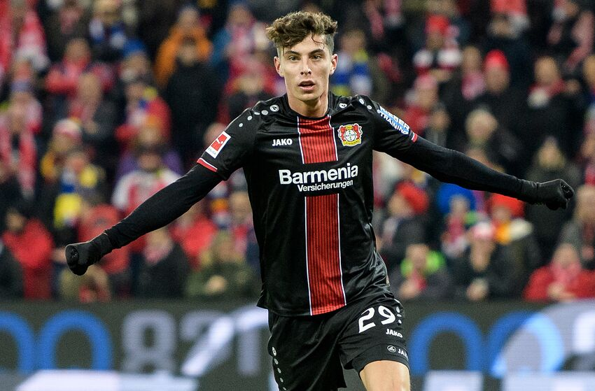 MAINZ, GERMANY - FEBRUARY 08: Kai Havertz of Leverkusen celebrates after scoring the 1-2 lead during the Bundesliga match between 1. FSV Mainz 05 and Bayer 04 Leverkusen at the Opel Arena on February 08, 2019 in Mainz, Germany. (Photo by Jörg Schüler/Getty Images)