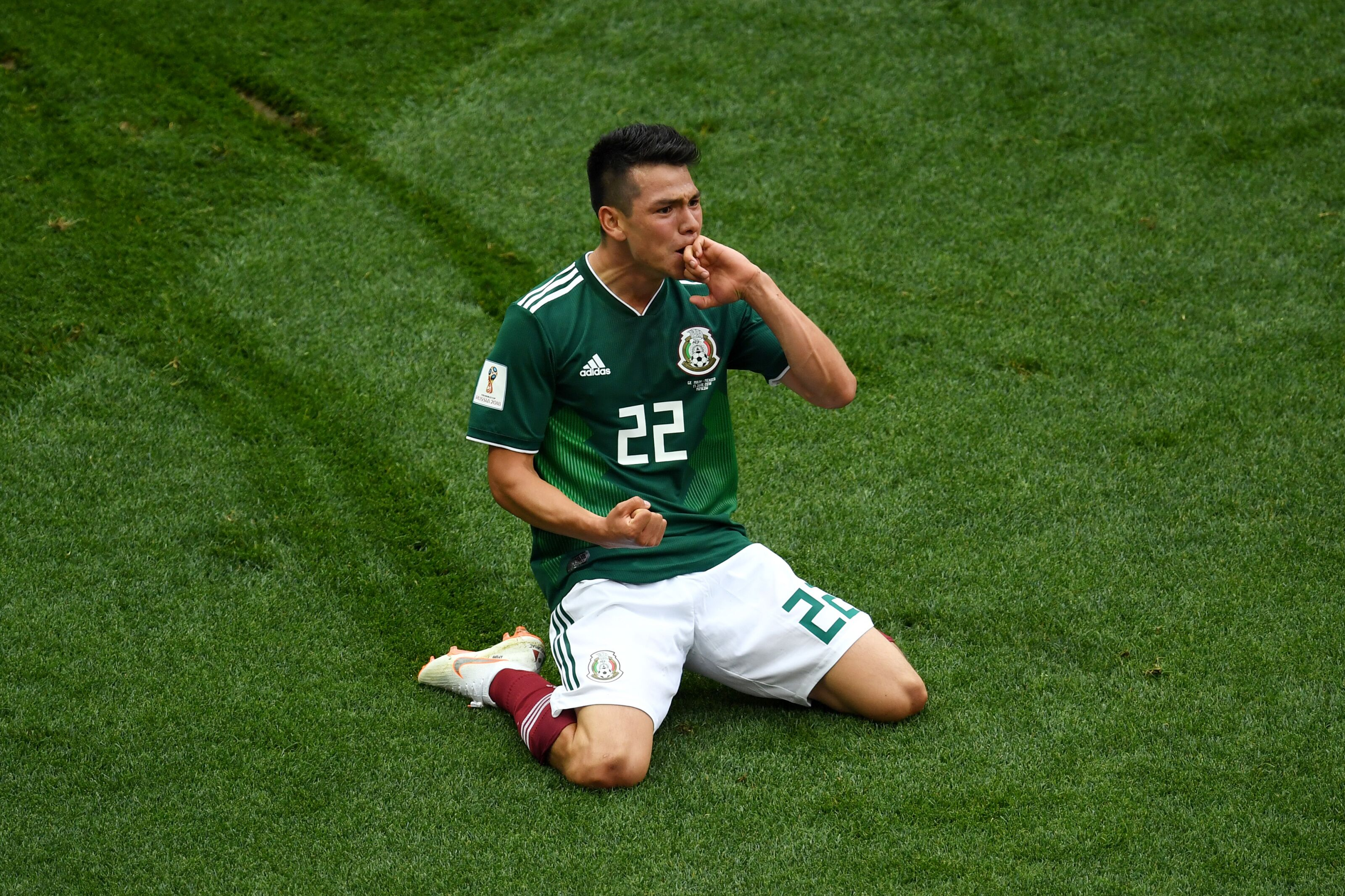 Moscow Russia June  Hirving Lozano Of Mexico Celebrates By Sliding On His