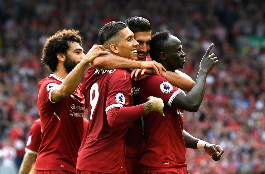 4176e336b LIVERPOOL, ENGLAND - AUGUST 27: Sadio Mane of Liverpool celebrates scoring  his sides second