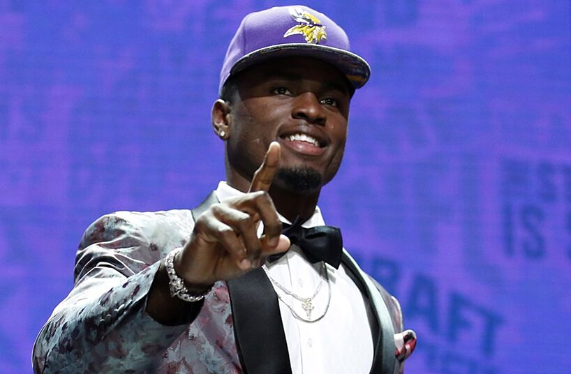 Apr 28, 2016; Chicago, IL, USA; Laquon Treadwell (Mississippi) after being selected by the Minnesota Vikings as the number twenty-three overall pick in the first round of the 2016 NFL Draft at Auditorium Theatre. Mandatory Credit: Kamil Krzaczynski-USA TODAY Sports