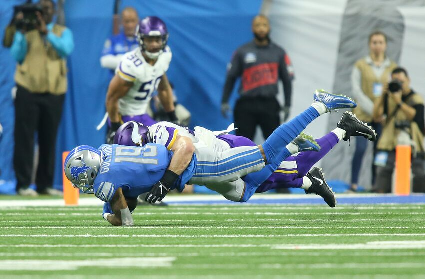 DETROIT, MI - DECEMBER 23: Detroit Lions wide receiver Kenny Golladay (19) is tackled by Minnesota Vikings linebacker Ben Gedeon (42) during a regular season game between the Minnesota Vikings and the Detroit Lions on December 23, 2018 at Ford Field in Detroit, Michigan. (Photo by Scott W. Grau/Icon Sportswire via Getty Images)