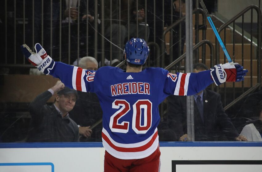 e6b8a323020 Chris Kreider #20 of the New York Rangers celebrates his second period goal  against the
