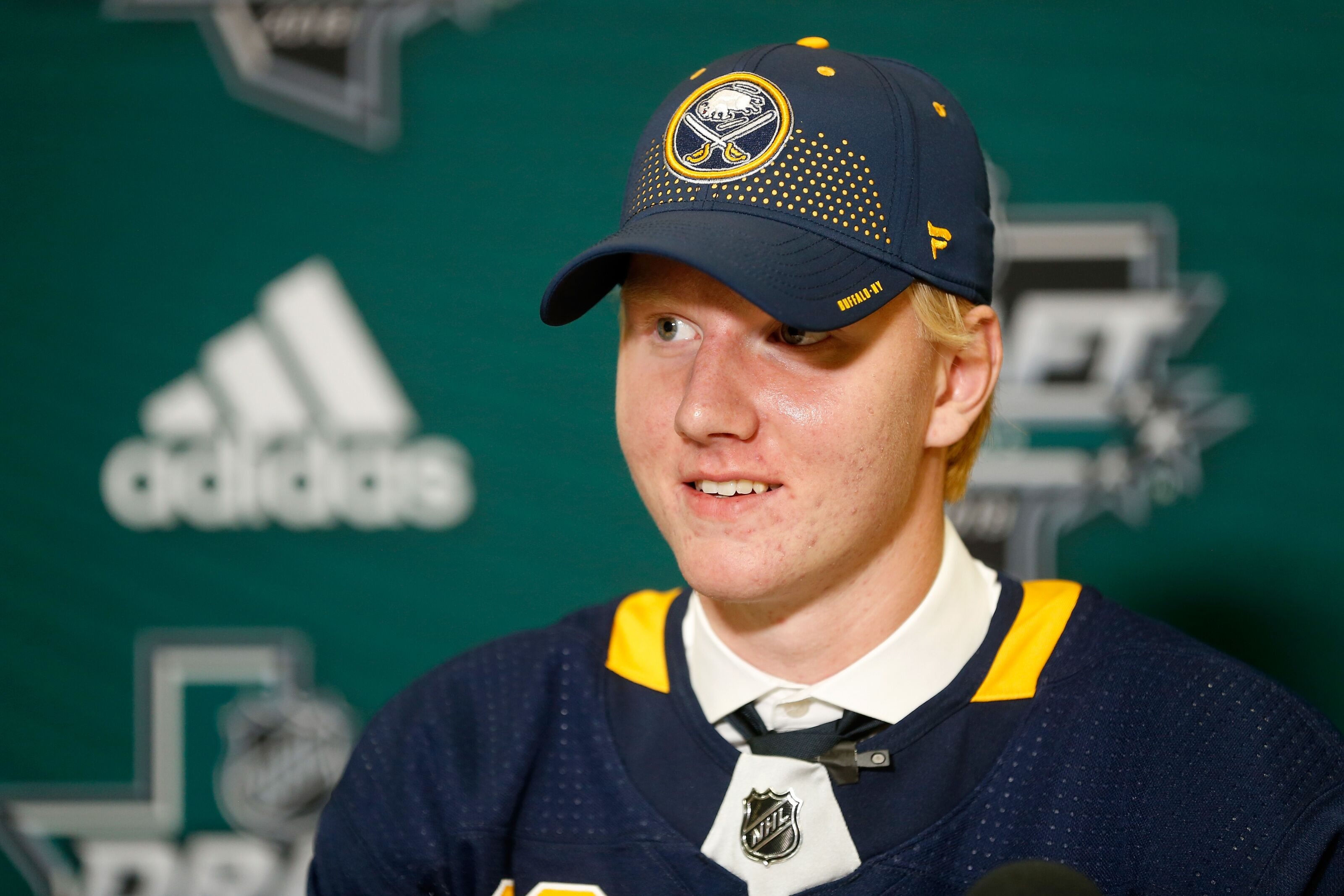 DALLAS, TX - JUNE 22: Rasmus Dahlin answers questions from the media after being selected first overall by the Buffalo Sabres during the first round of the 2018 NHL Draft at American Airlines Center on June 22, 2018 in Dallas, Texas. (Photo by Ron Jenkins/Getty Images)