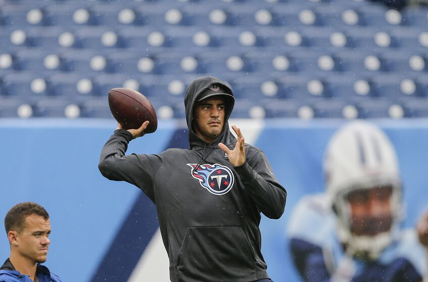 NASHVILLE, TENNESSEE - OCTOBER 06: Marcus Mariota #8 of the Tennessee Titans warms up on the field before the game against the Buffalo Bills at Nissan Stadium on October 06, 2019 in Nashville, Tennessee. (Photo by Silas Walker/Getty Images)