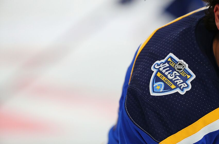 ST LOUIS, MO - OCTOBER 17: A detail shot of the 2020 NHL AllStar game patch as worn by Justin Faulk #72 of the St. Louis Blues at Enterprise Center on October 17, 2019 in St Louis, Missouri. (Photo by Dilip Vishwanat/Getty Images)