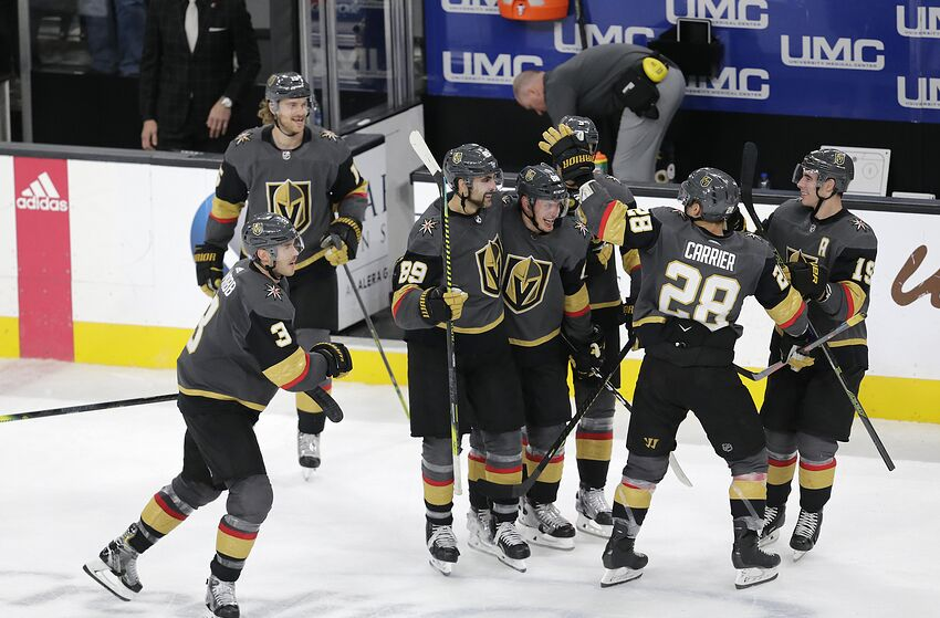 LAS VEGAS, NV - NOVEMBER 29: Vegas Golden Knights right wing Alex Tuch (89) celebrates with his teammates after winning a regular season game against the Arizona Coyotes Friday, Nov. 29, 2019, at T-Mobile Arena in Las Vegas, Nevada. (Photo by: Marc Sanchez/Icon Sportswire via Getty Images)