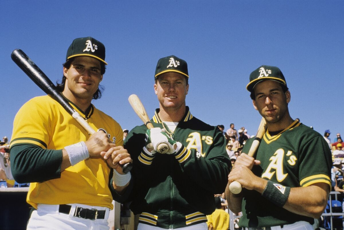 Oakland Athletics' three rookies of the year, Jose Canseco, Mark McGuire,  and