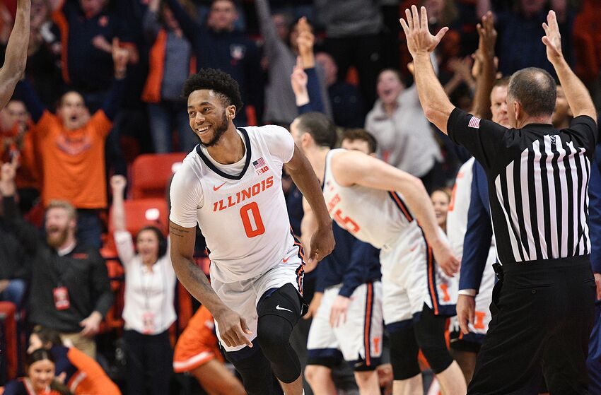 CHAMPAIGN, IL - JANUARY 11: Illinois Fighting Illini guard AlanGriffin (0) reacts after a play during the Big Ten Conference college basketball game between the Rutgers Scarlet Knights and the Illinois Fighting Illini on January 11, 2020, at the State Farm Center in Champaign, Illinois. (Photo by Michael Allio/Icon Sportswire via Getty Images)