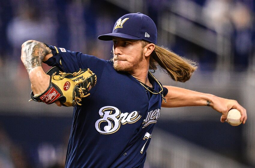 MIAMI, FL - SEPTEMBER 12: Josh Hader #71 of the Milwaukee Brewers delivers a pitches in the ninth inning against the Miami Marlins at Marlins Park on September 12, 2019 in Miami, Florida. (Photo by Mark Brown/Getty Images)