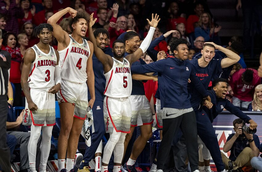 TUCSON, ARIZONA - JANUARY 04: The Arizona Wildcats bench celebrates in the second half against the Arizona State Sun Devils at McKale Center on January 04, 2020 in Tucson, Arizona. The Arizona Wildcats won (Photo by Jennifer Stewart/Getty Images)