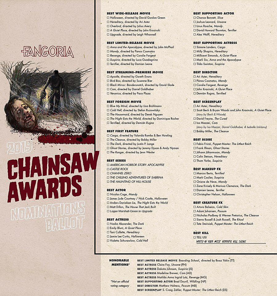 Forget The Oscars: Cast your vote in Fangoria's Chainsaw Awards