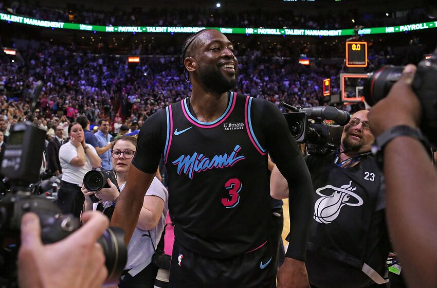 The Miami Heat s Dwyane Wade (3) celebrates after hitting a 3-pointer at ba3c447ad